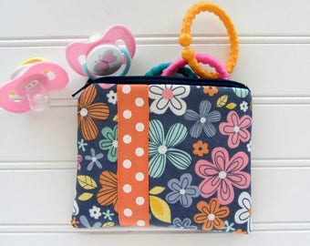 Boho Baby Pacifier Pouch, Navy and Coral Floral Baby Bag, Pacifier Bag, Diaper Bag Storage, Baby Zipper Bag, Baby Travel Bag, Coin Purse