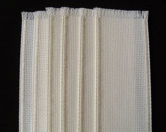Lot 6 Cross Stitch Blank Bookmarks Off White/Cream Bound Edges 14 Count 26x94