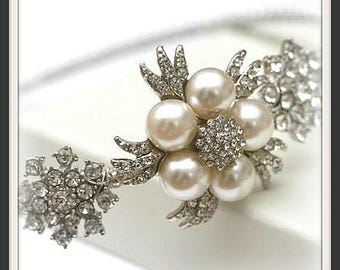 Bridal side tiara, Rhinestone and pearl wedding headband, Rhinestone and pearl wedding headpiece