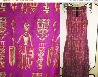 ON SALE Vintage Tiki Tribal Dress in Purple, Red and Metallic Gold. XS Xxs