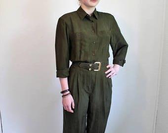 SUMMER SALE 80s Jumpsuit, Khaki Pantsuit, Army Green, Silk Jumpsuit, Tapered Pants, Baggy Jumpsuit Long Sleeve ,Coveralls, Womens Jumpsuit M