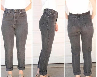 SUMMER SALE High Rise Jeans, Black Jeans, 90s Jeans, Mom Jeans, Womens Jeans Small, High Waisted Jeans, Black Denim, Tapered Jeans, Tight Je