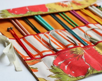 Knitting Needle Organizer, Knitting Needle Case, Knitting Needle Roll, Vintage Orange Floral by Knotted Nest