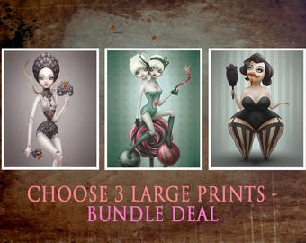 "3 large prints bundle deal - choose any 3 - 8x10"" - lowbrow - popsurrealism - Big Eyes - curious art by MissFelix"