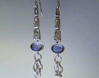Modern Long Silver and Gemstone Earrings - Iolite - Violet Gem - Metalsmith Work - One of a Kind - Silver Dangle Earrings
