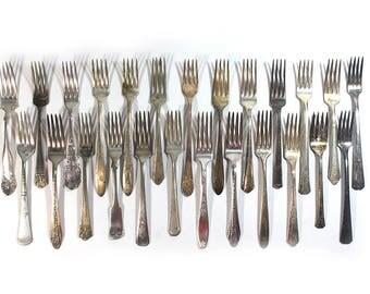 Set of 25 Silver Plate Scrap Dinner Forks • Craft Supplies