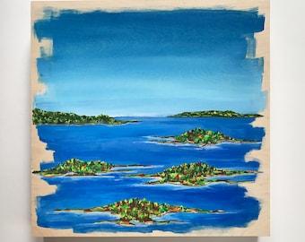 Landscape Painting 12x12 in. Art on Wood Panel Maine Landscape Painting Acrylic Painting on Wood Wall Art Nautical Decor Island  Art