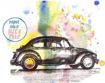 Retro Vintage Art Volkswagen Vw Beetle Art Print From Original Watercolor Painting Car Art Print 8 x 10 in.