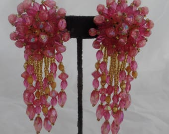 Gorgeous Vintage Cluster Drop Earrings in Pink and Gold