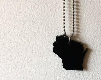 Wisconsin Acrylic Necklace in Black, State Necklace, Lasercut Jewelry