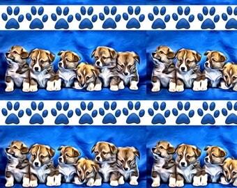 Welsh Corgi Puppies Fabric