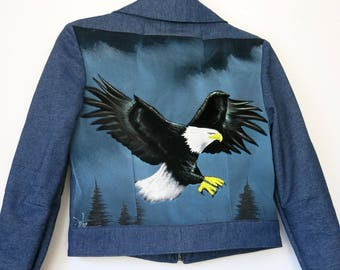 Eagle Velvet Painting Jacket / 70s Denim Jacket Sz S