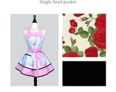 CUSTOM for JILL Ruffled Retro Pinup Apron / Red Roses with Black Cute Womens Vintage Style Kitchen Apron to Monogram or Personalize