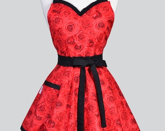 Sweetheart Pinup Womens Apron / 50s Style Glamour Red Roses Trimmed in Black Flirty Sexy Kitchen Hostess or Gift Apron with Pocket