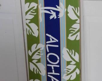 4FT ALOHA SURFBOARD. Headboard / Alternative Wedding Sign in Book / Personalized / Hawaiian Beach Wall art. Surf Theme Decor / Beach Decor