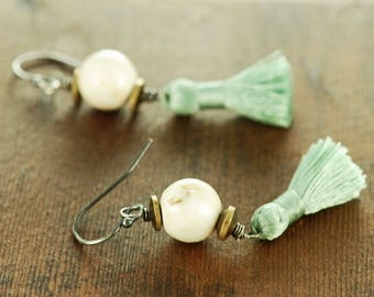Natural Shell and Tassel Mixed Metal Dangle Earrings, Bohemian Tassel Earrings, Beach Jewelry