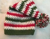 Red, Green, and Ivory Elf Stocking Hat with Long Tail and Tassle - Newborn Christmas Baby Photo Prop