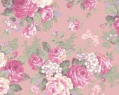 RURU Classic Library Collection  Cotton Fabric Quilt Gate RU2290-11B Large Rose Bouquet