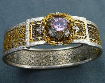 Art Deco Amethyst Glass Filigree PS Co. Two-Tone Bracelet