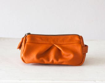 Leather accessory bag in orange, makeup case cosmetic bag vanity storage pencil case utility storage toiletry bag - Estia Bag