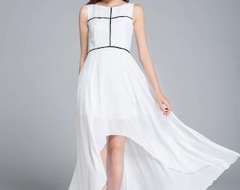 white dress, chiffon bridesmaid dress, flare dress, romantic dress, womens dresses, party dress, summer dress, swing dress 1766