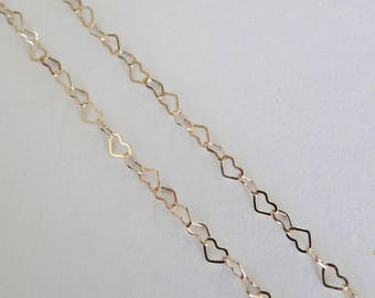3 Feet - 14K Gold Filled 3mm Heart Chain - Custom Lengths Available, Made in USA