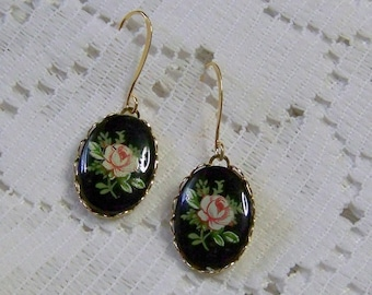 Pink & Black Rose Cameo Earrings, Steampunk Victorian Earrings, Vintage Rose Cameos, Rose Jewelry, Flower cameo jewelry, Rose Garden