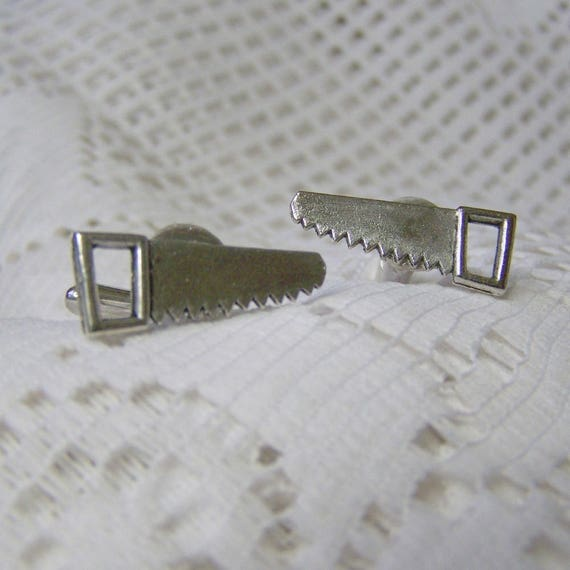 Saw Cuff links - Carpenter cuff links Construction Silver Metal Steampunk - Gifts for Dad - Father's Day Gift - Gifts for Men - Contractor