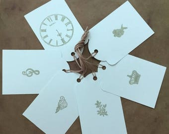 ON SALE Cinderella Gift Tags - Gray Tags - Paper Tags - Present Toppers - Music, Crown, Clock, Flowers - Note Tags - Hang Tag - OOAK Tags