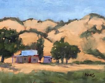 PIERCE ROAD, BENICIA - 9 x 12 - Solano County - Plein Air - Original Oil Painting - California Landscape - Home Decor - Cottage Home Decor