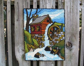 Vintage Punched Rug Water Wheel Wall Hanging