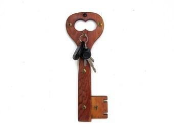Vintage wooden skeleton key shaped key organizer, wall hanging