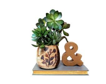 Vintage studio pottery planter, earthtones