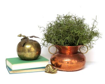 Vintage hammered copper dry vase , pot container with brass ring handles