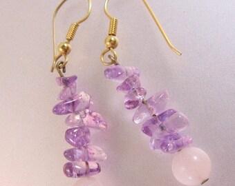XMAS in JULY SALE Amethyst & Rose Quartz Drop or Dangle Earrings Pierced Vintage Jewelry Jewellery