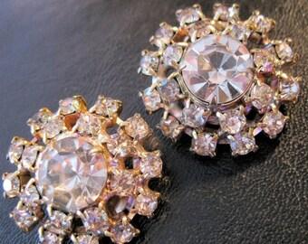 XMAS in JULY SALE Vintage Round Rhinestone Clip On Earrings Wedding Bridal Jewelry Jewellery