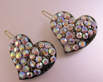 SALE & FREE SHIPPING Two Heart Shaped Iridescent Rhinestone Hair Clips in Gold Tone Metal Vintage Jewelry