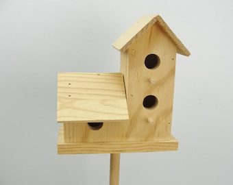 Tall birdhouse on a stand unfinished DIY