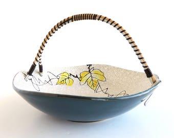 Vintage Mid-Century Grape Leaf and Vine Design Ceramic Bowl with Wrapped Basket Handle, Home Decor