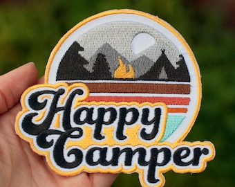 HAPPY CAMPER 4 inch : Velcro Patch, Adventure Patch, Outdoor Patch, Camping Patch, Everyday Carry, EDC, Camp Patch, Embroidered Patches