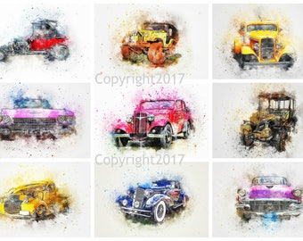 Printable Watercolor Cars #102 Instant Digital Download , Scrapbook Embellishments, Arts, Crafts, Decoupage