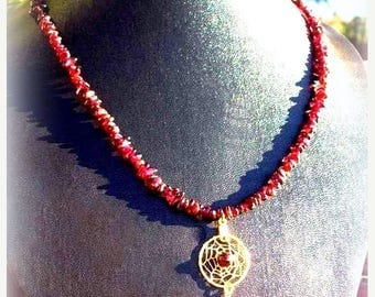 SALE CRIMSON BEAUTY Garnet & gold Dream catcher Necklace