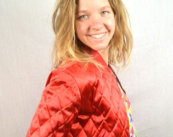 Vintage 1970s Satin Quilted Reversible Jacket - Happy Legs