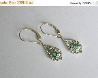 SALE Blue dangly earrings, silver engraved earrings, Fluorite dangly earrings, Fluorite earrings, blue gemstone earrings, Penelope earrings