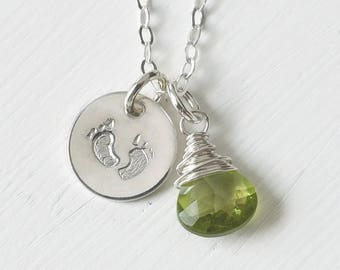 Baby Footprints Necklace with Birthstone / New Mom Necklace Gifts / New Baby Gifts for Moms / Choose Your Birthstone / Sterling Silver