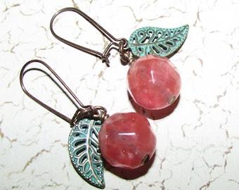 Summer Cherries Rose Quartz Earrings on Etsy by APURPLEPALM