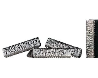 500pcs. 22mm or 7/8 inch Gunmetal No Loop Ribbon Clamp End Crimps - Artisan Series