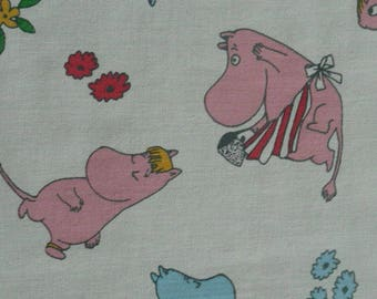 scrap Moomin fabric cotton vintage, small characters white moominmamma little my tillukka