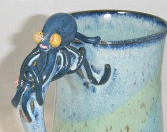 Octopus Mug Sea Monster Cup Ocean Blue Green