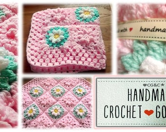 Baby Girl Crochet Flower Blanket